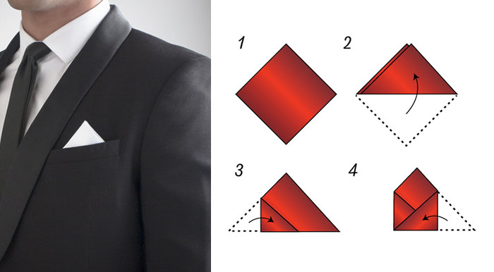 One Point Fold Pocket Square